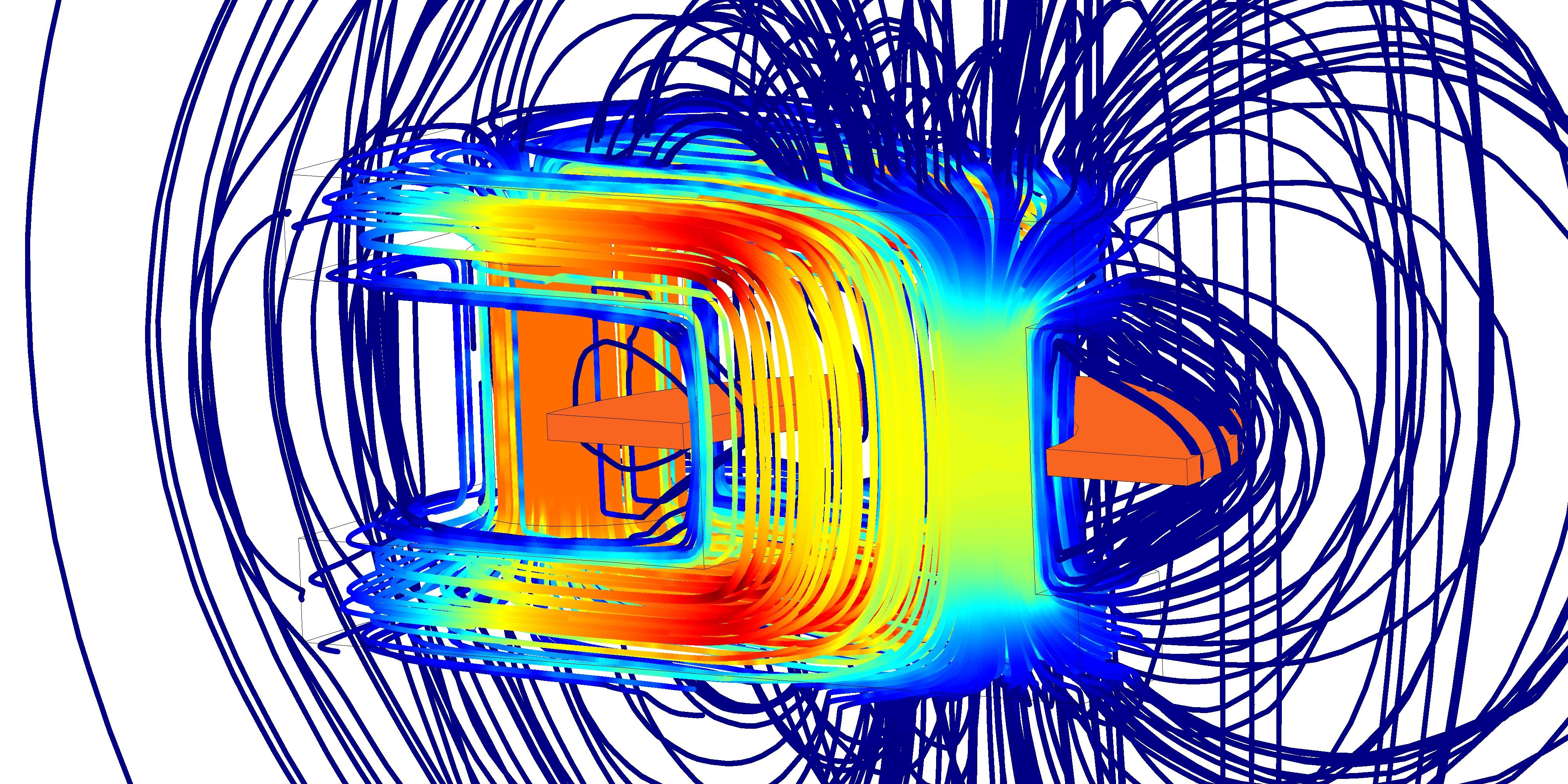 Alvelid Engineering's simulation results showing magnetic flux streamlines and magnitude around an inductor