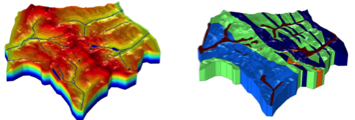 Topography and hydrogeological formations modeled in COMSOL®.