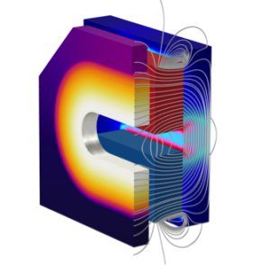 A model of an actuator undergoing a thermal analysis.