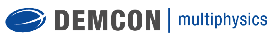 The logo for DEMCON multiphysics, a COMSOL Certified Consultant.