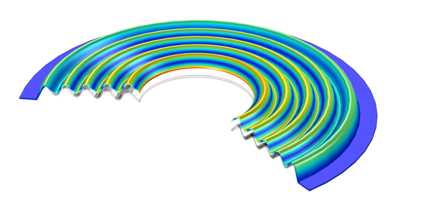 An example of a structural analysis modeled in COMSOL Multiphysics by PANA SOUND Ltd.