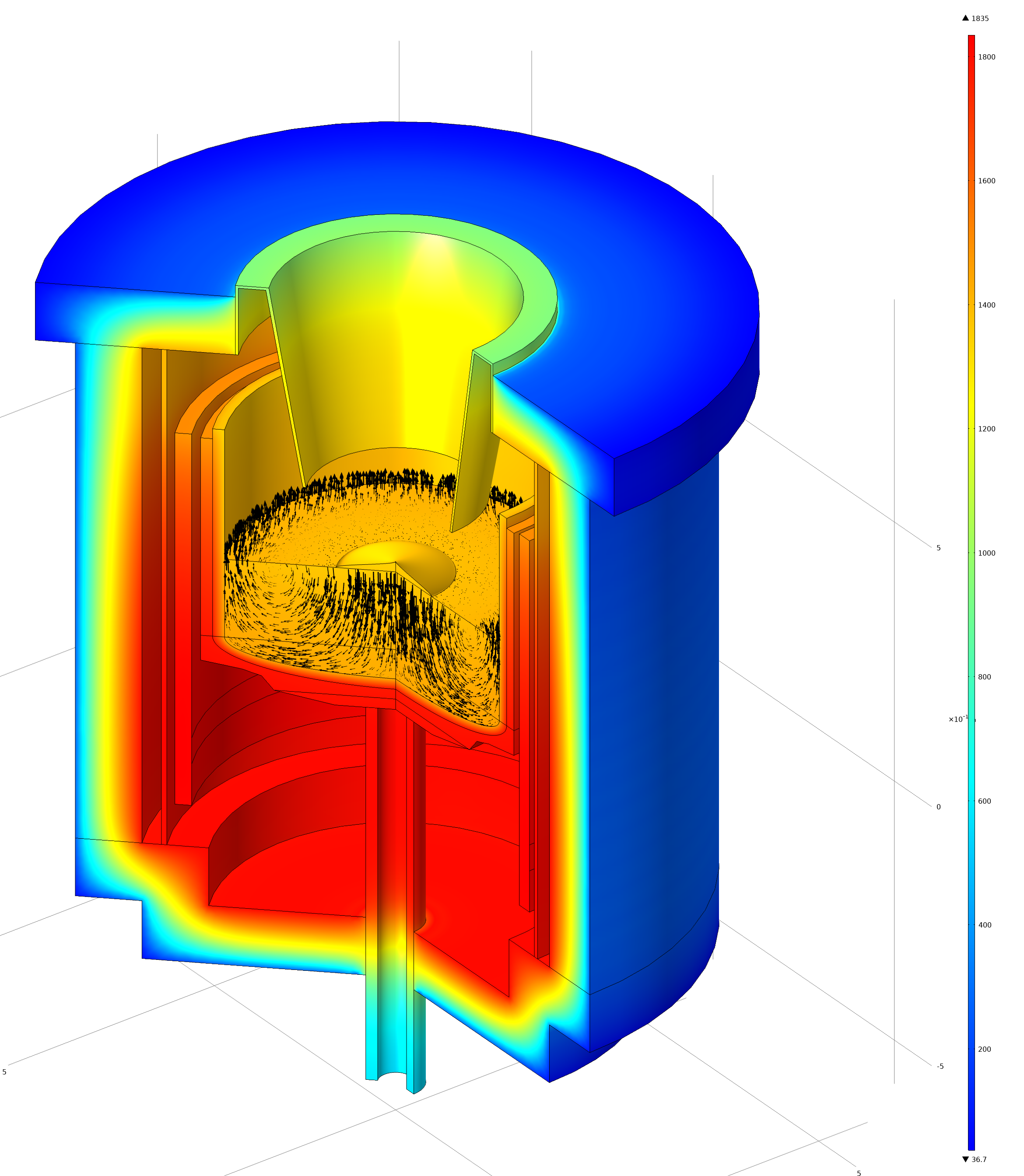A COMSOL Multiphysics simulation showing crystal growth.