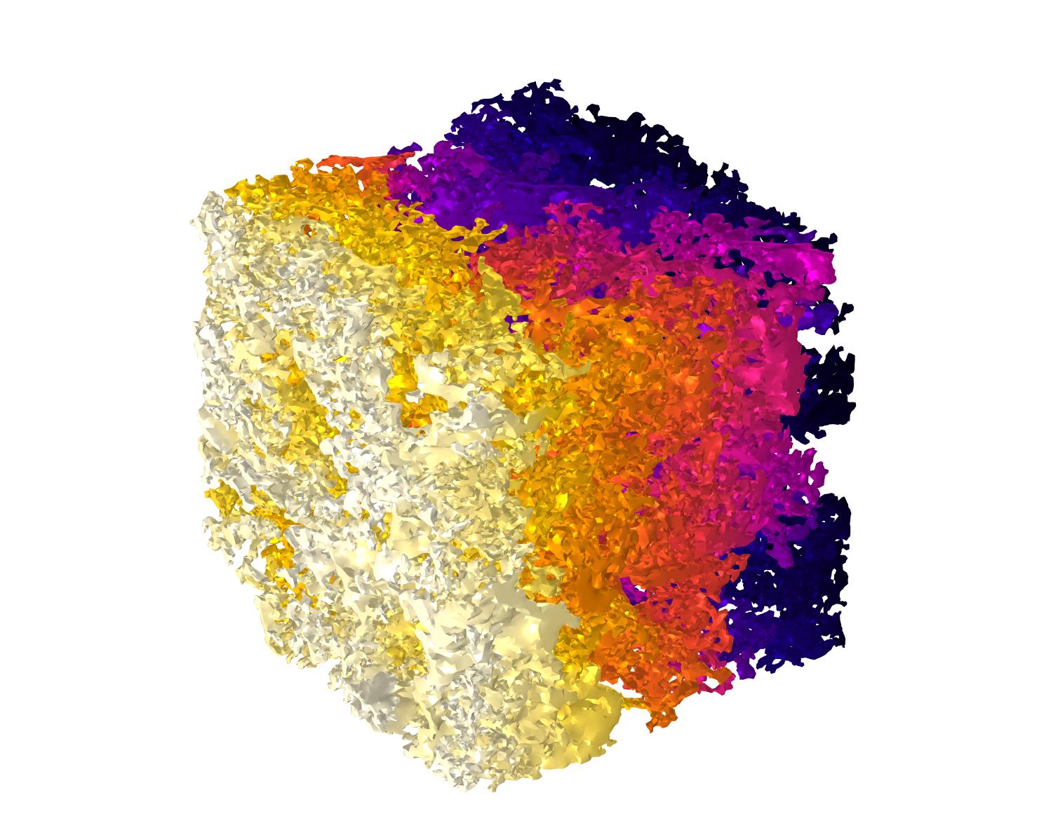 A multiphysics model showing pore-scale flow.