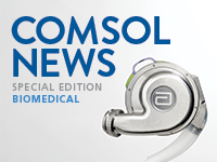 The cover of COMSOL News Biomedical with a heart pump.