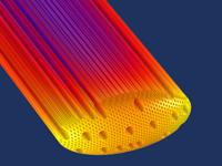 硬木生物质颗粒模型的裁剪视图,其中使用 HeatCamera 颜色表来显示温度。