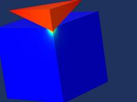 一个红色三棱柱与一个蓝色立方体相接触,用来表示一个维氏压头。