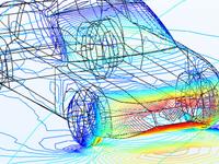 用 Rainbow 颜色表显示的汽车周围的流动。