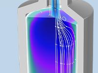 填充床潜热存储单元模型的特写视图,通过显示内部结构来呈现相变效应。