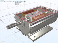 金属感应电机模型,其内部结构通过剪裁显示在顶部。