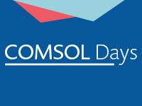 深蓝色背景上的白色 COMSOL 主题日徽标,背景上方是浅红色和青色的三角形。