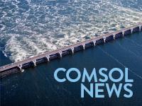 三角洲工程(The Delta Works)航拍照片,右下角附有 COMSOL News 徽标。