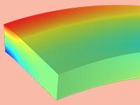 用彩虹色显示平面应力的固体力学模型。