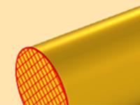 一个表示导线的黄色圆柱体模型的特写视图。