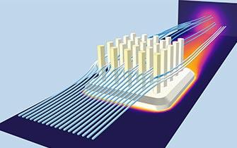 在 COMSOL Multiphysics 中创建的散热器模型,其中的流线表示流体流动,温度用热像仪颜色表来显示。