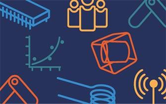 以深蓝色为背景,用蓝色、黄色、橙色和蓝绿色显示的组件、绘图和人物简笔画表示 COMSOL 博客。
