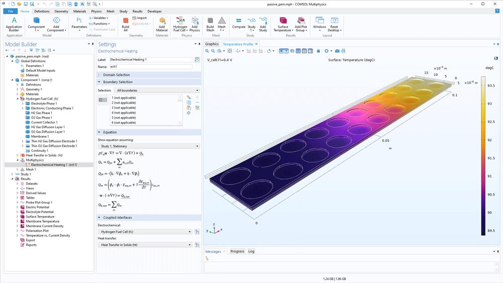 """COMSOL Multiphysics 用户界面,其中显示被动式质子交换膜模型的""""模型开发器""""、""""电化学热""""设置和温度分布图。"""