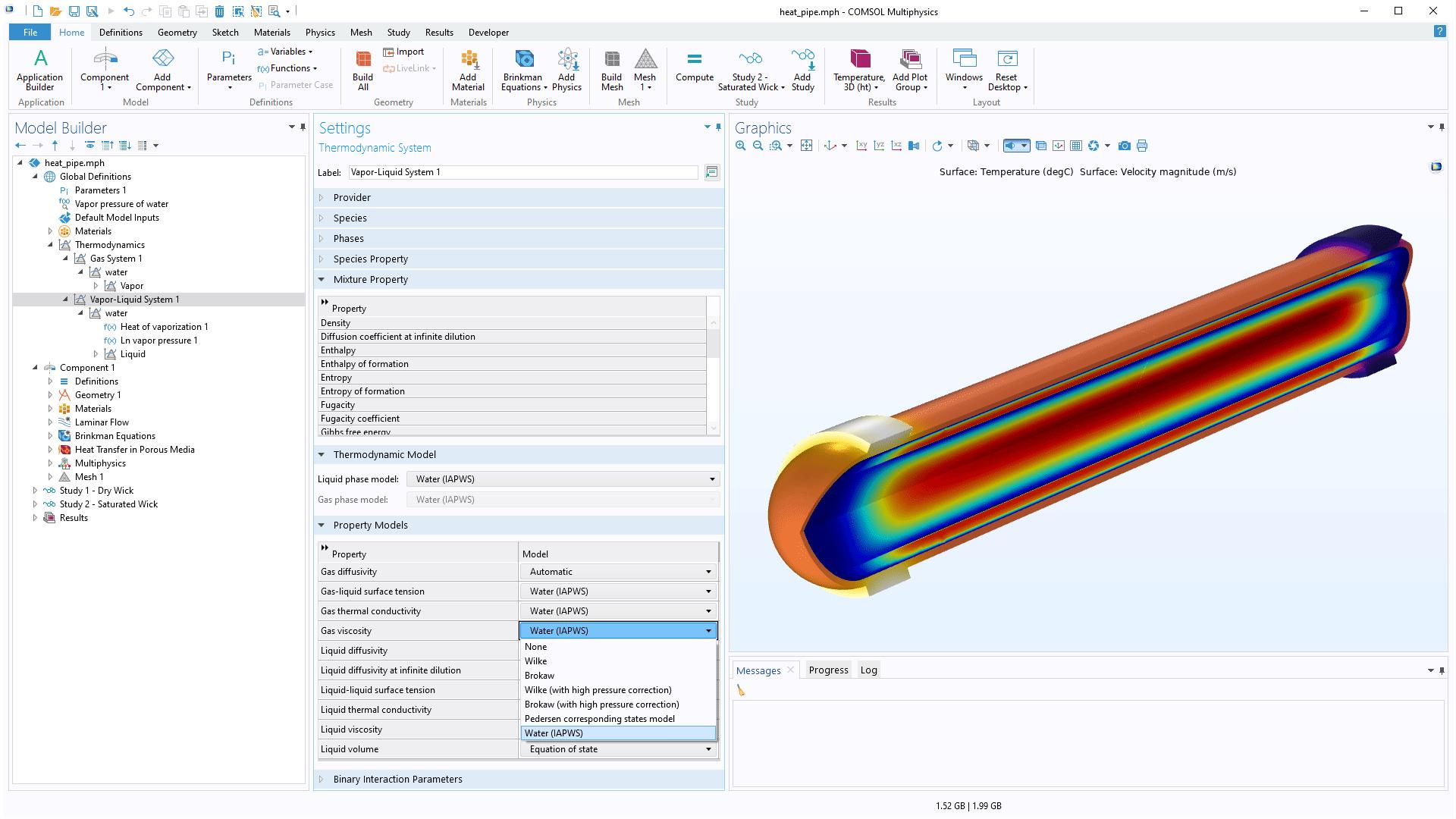 """COMSOL Multiphysics 用户界面,显示了热力学属性设置,其中展开了气体黏度选项,""""图形""""窗口中显示一个热管模型。"""