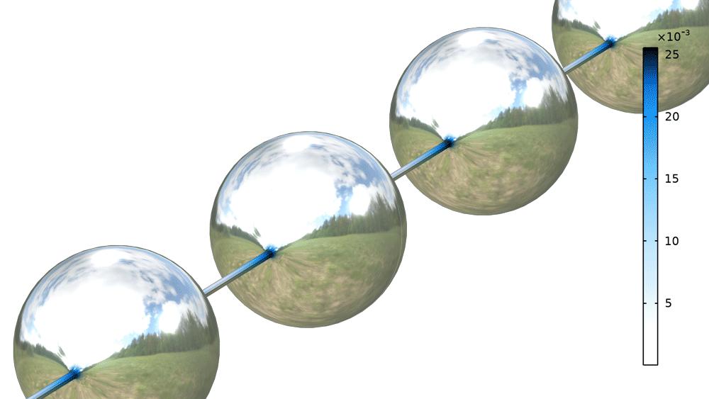 黏弹性细丝在表面张力作用下的细化过程可视化效果,其中的液滴几乎为球形,并通过变细的线连接。