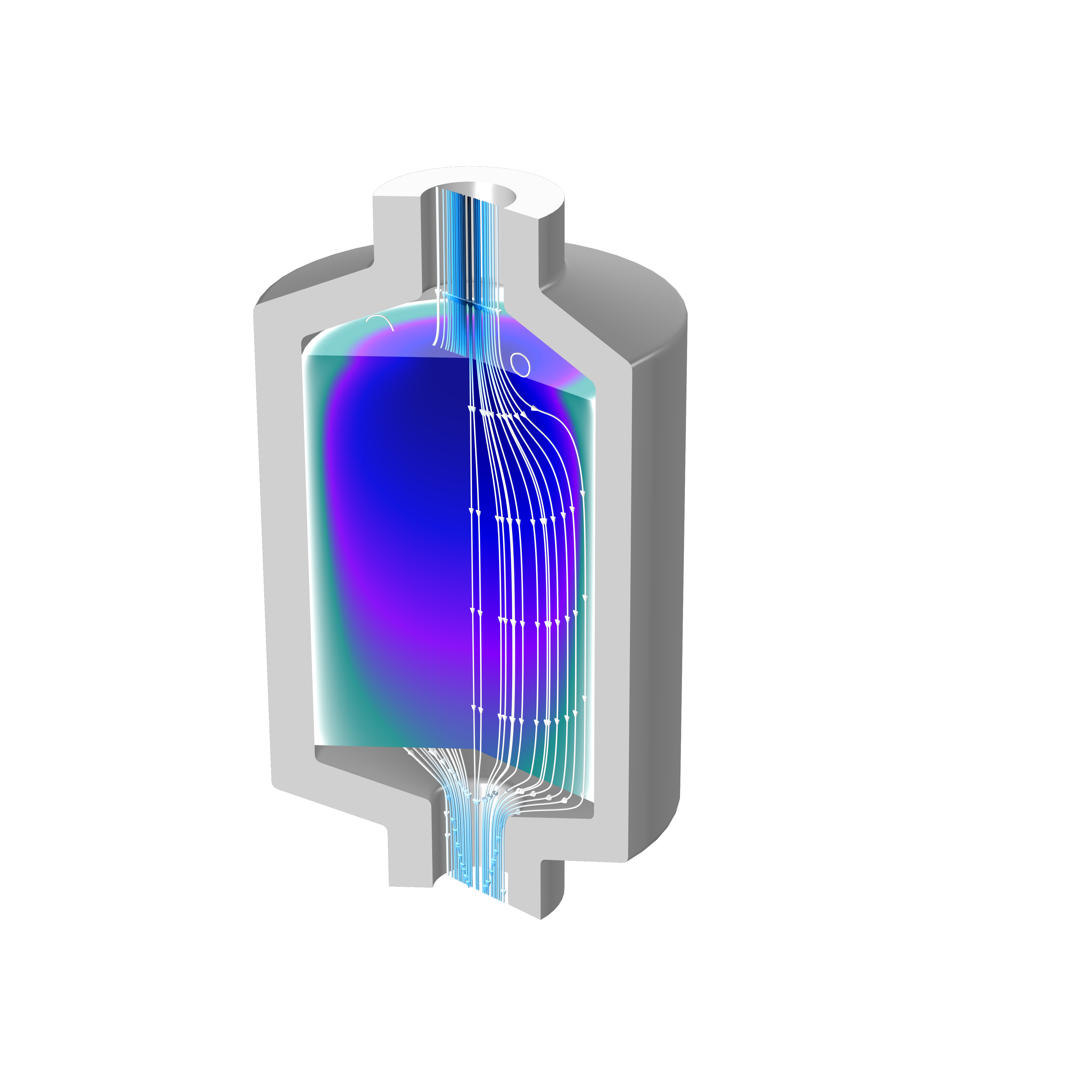 A packed-bed latent heat storage tank model with the flow visualized as streamlines.