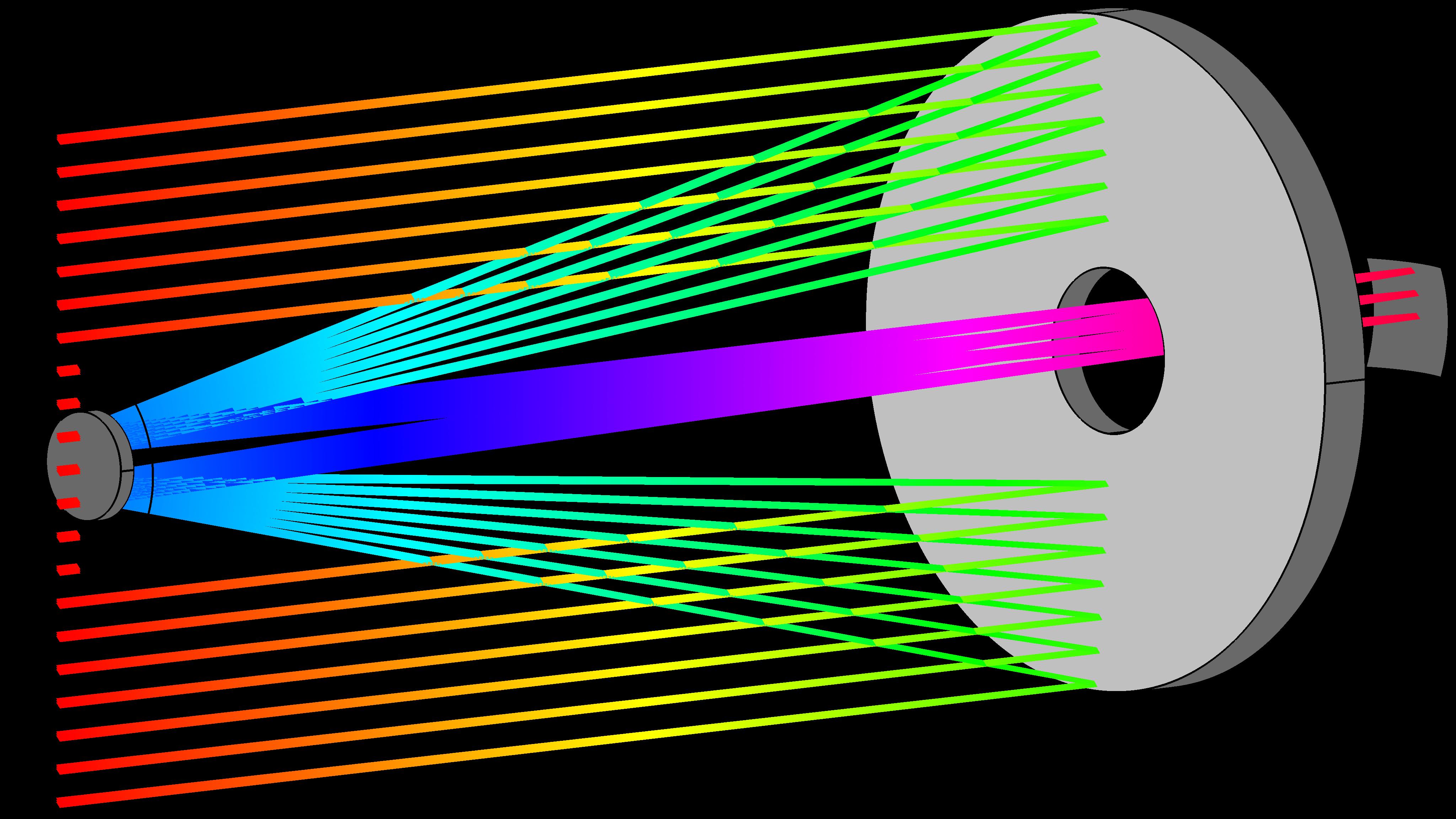 哈勃太空望遠鏡模型中的光線可視化效果。