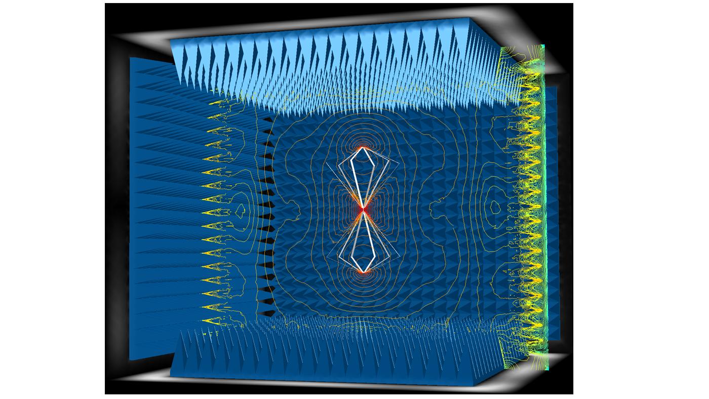 用於研究消聲室中微波吸收的COMSOL 模型。