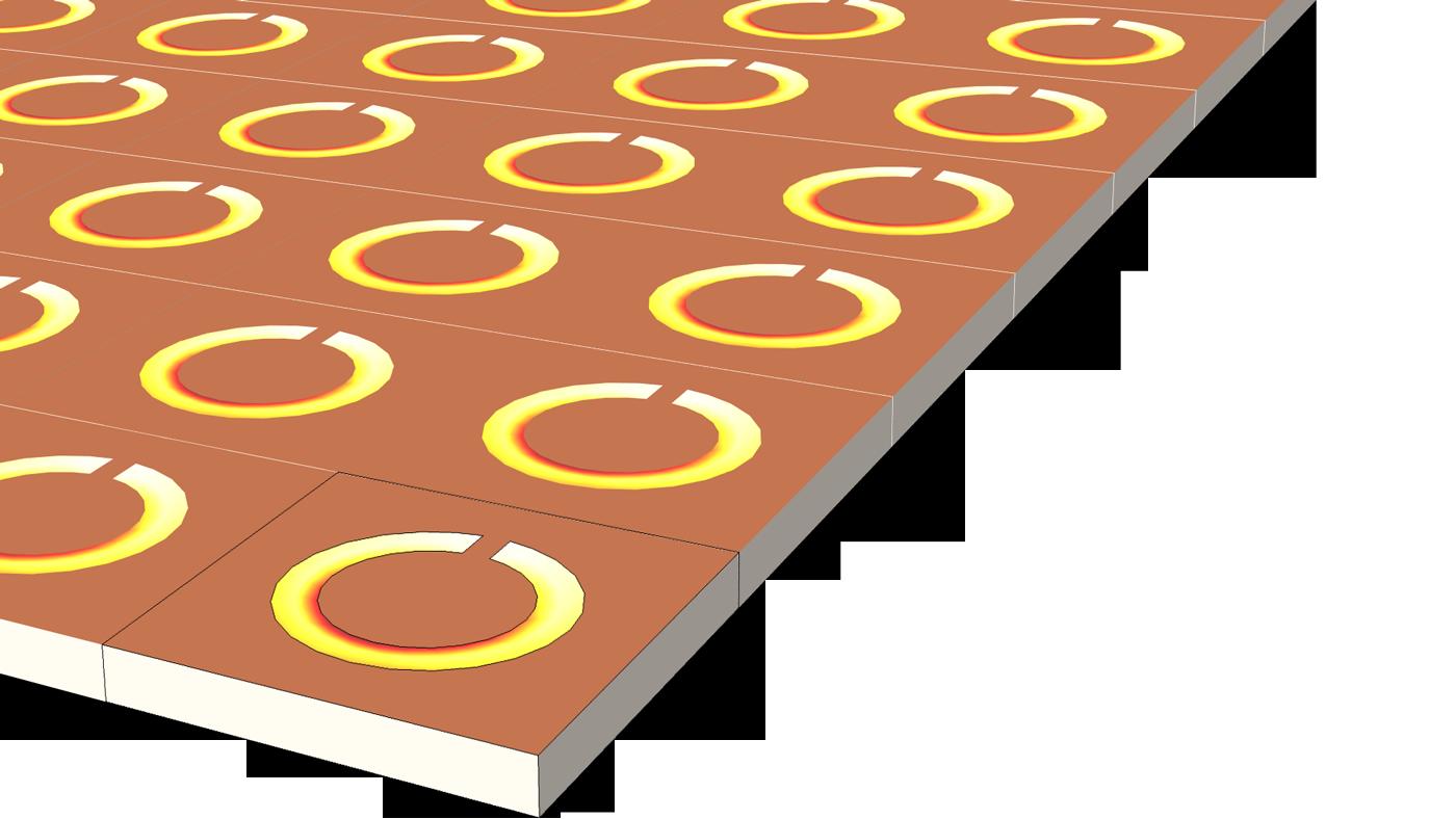 """使用COMSOL Multiphysics 基本模塊和""""RF 模塊""""創建的頻率選擇表面優化模型。"""