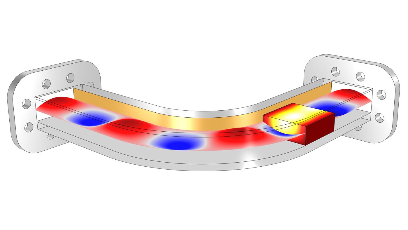 """使用COMSOL 軟件的""""RF 模塊""""進行的電磁熱建模示例。"""