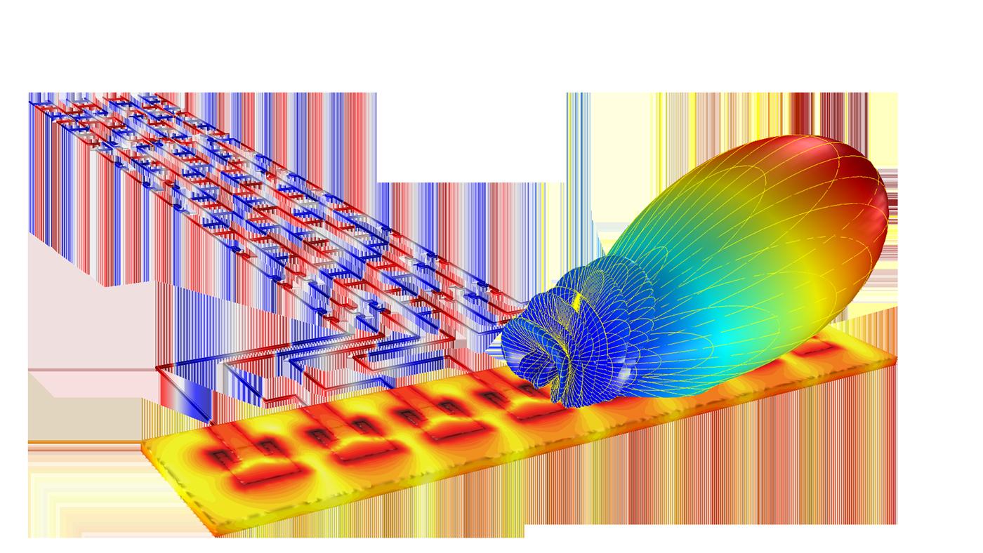 用於研究傳輸線巴特勒矩陣波束成型網絡的COMSOL 模型。