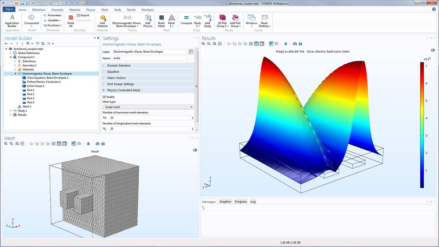 在波動光學模型中使用物理場控製網格劃分的示例。