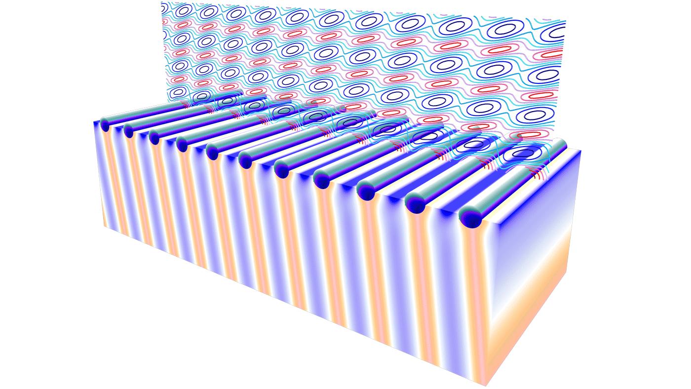 """使用""""波動光學模塊""""提供的後處理特徵的模型示例。"""