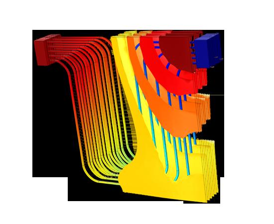 汽車鋰離子電池組模型的溫度場。 此處表徵的是冷卻通道中流體的溫度等值面和溫度分佈。