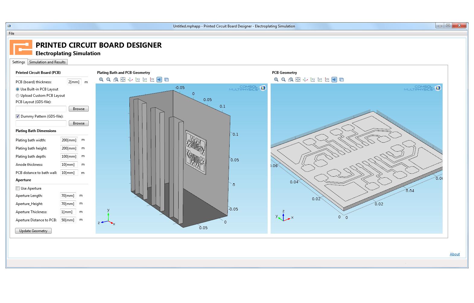 根據電鍍印刷電路板(PCB) 的COMSOL 模型構建的COMSOL App 中的設置功能。 內置到App 是能夠操作大量不同浴和孔徑幾何維度,以及上傳您自己的設計。 這使您可以研究不同參數(例如鍍速、佈局和浴設置)情況下印刷電路板(PCB) 中銅電路的厚度和均勻度。 此App 還可用於找出給定均勻度目標的最佳沉積速率,以及找出陽極與PCB 之間孔徑(防護板)的最佳設計。
