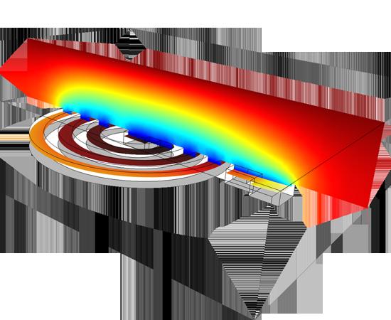 電感線圈上的電沉積,包括光致抗蝕隔離膜以及抗蝕表面的擴散層。 電解質中的銅離子質量傳遞對沉積動力場具有主要影響,使沉積圖案外部的沉積速率較高。