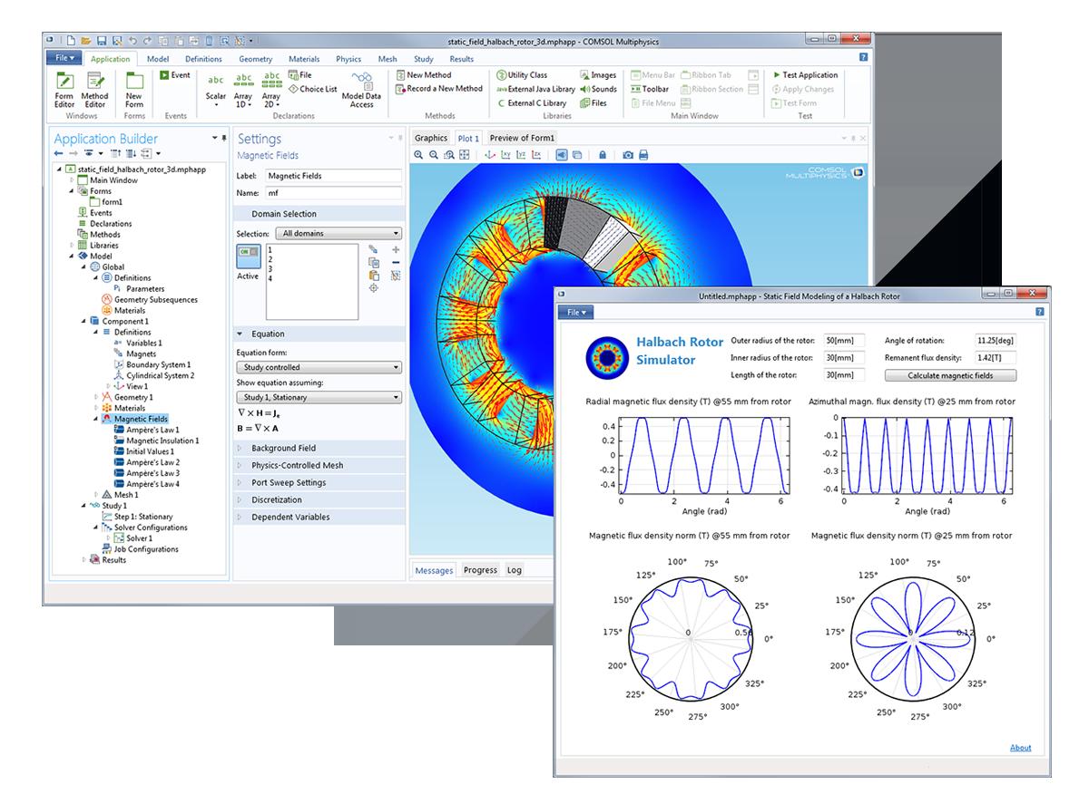 本模型和 App 模拟了 Halbach 转子中的静态磁场,Halbach 转子为外通量聚焦永久磁铁的磁转子。在这类设备中,对永磁场的精确模拟通常十分重要。而通过从模型生成的 App,工程师和技术人员可以专注于分析这一重点。