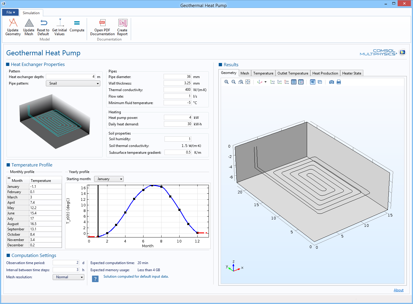 Pipe Flow Module Comsol 52 Release Highlights Geothermal Heat Pump Wiring Diagram Temperature Field Computed By The App From Operating Settings Defined User