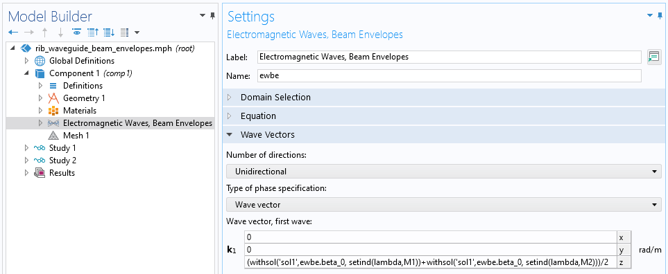 A screenshot of the Settings window for the Electromagnetic Waves, Beam Envelopes feature, with the Wave Vectors section expanded.