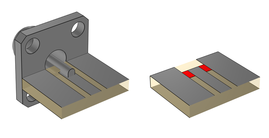 Side-by-side illustrations showing a coaxial excitation on the left and a multielement uniform lumped port excitation on the right.