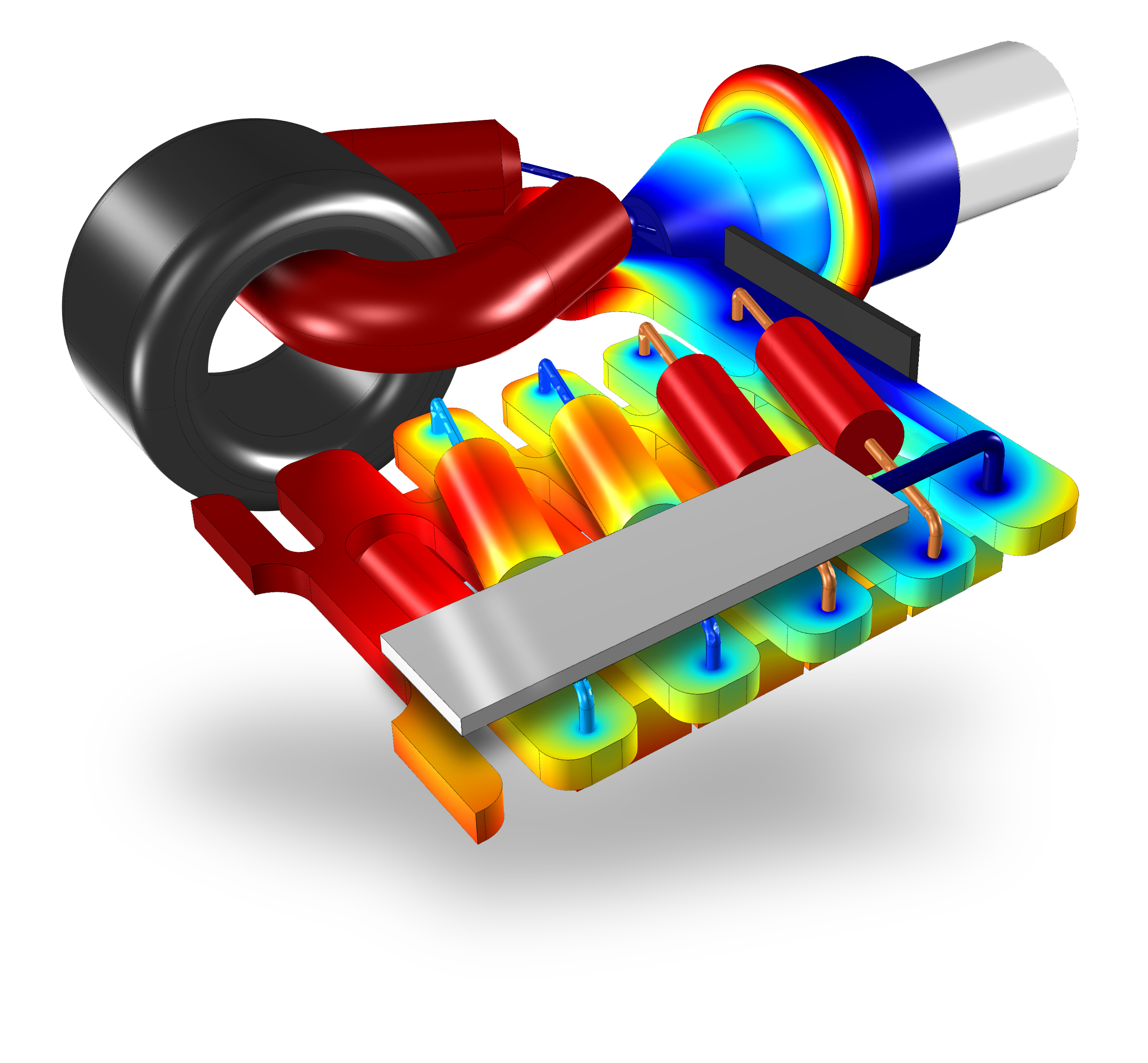 Simulation of the electromagnetic field in a high-voltage generator in an X-ray device. Model courtesy; Comet AG, Switzerland.