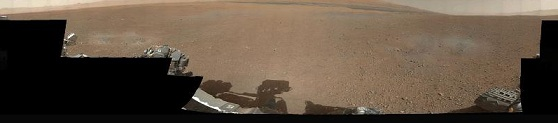 the first 360-degree panorama in color of the Gale Crater landing site taken by NASA's Curiosity rover