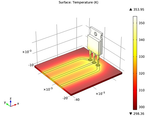 Power transistor temperature distribution