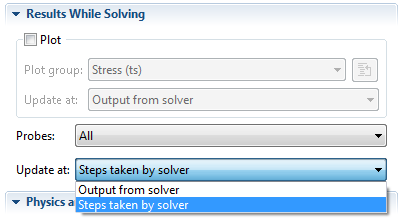 Steps taken by solver