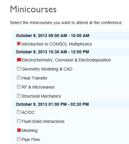Multiphysics minicourse selection interface