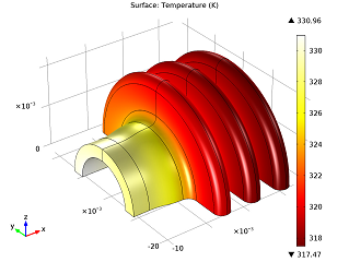 Steady-state surface temperature of cooling flange