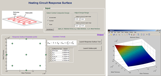Heating Circuit response surface 集成 COMSOL Multiphysics® 和 MATLAB®