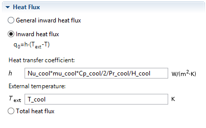 User defined heat transfer coefficient