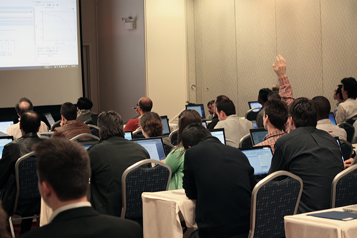 COMSOL Conference attendee asks a question during a minicourse