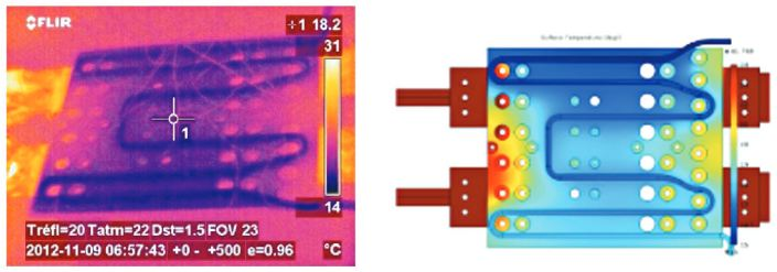 Thermal and simulated image of a busbar from Mersen