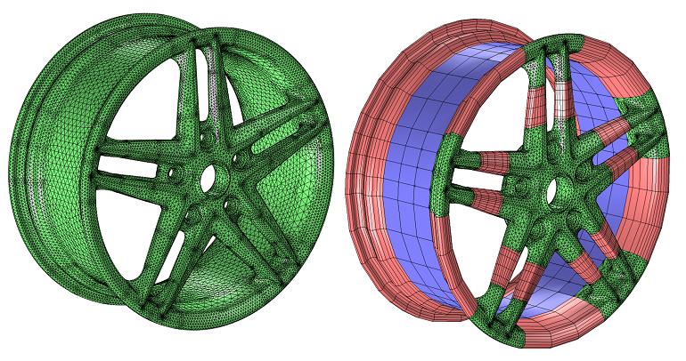 Wheel rim mesh example 几何的网格剖分:各类单元的适用场景