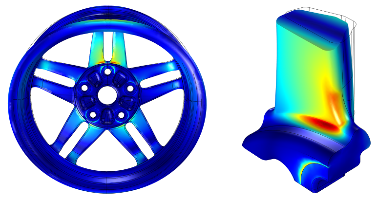 Stress analysis of wheel rim in global and submodel