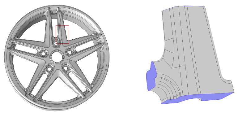Submodeling example: Full and submodel of a wheel rim